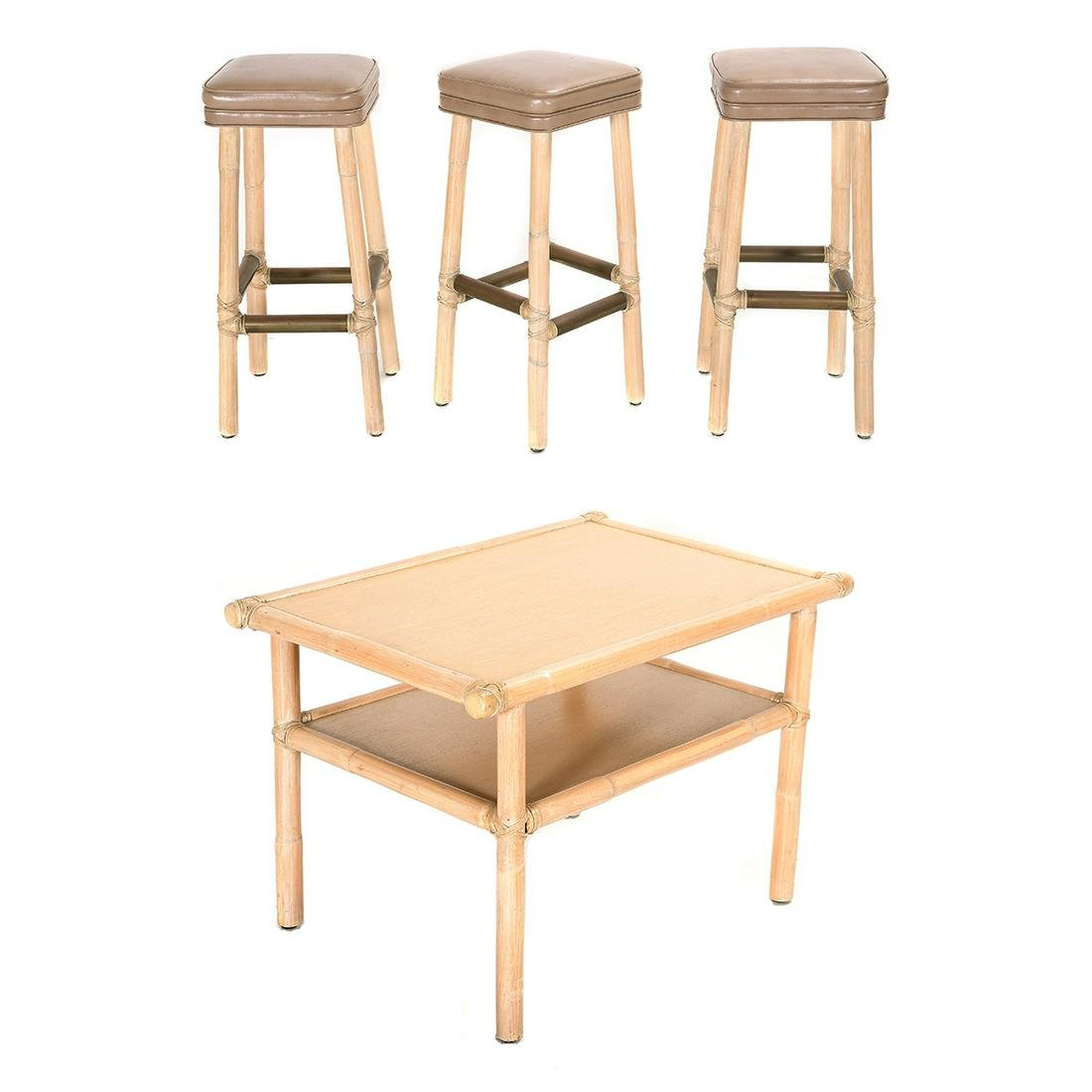Three McGuire Bamboo Barstools and an End Table.