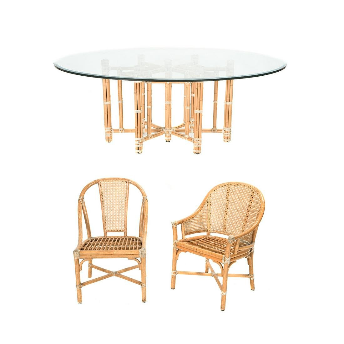 McGuire Glass Top Dining Table with Six Chairs.