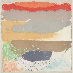 "Friedel Dzubas ""Untitled"" color mono type on handmade"