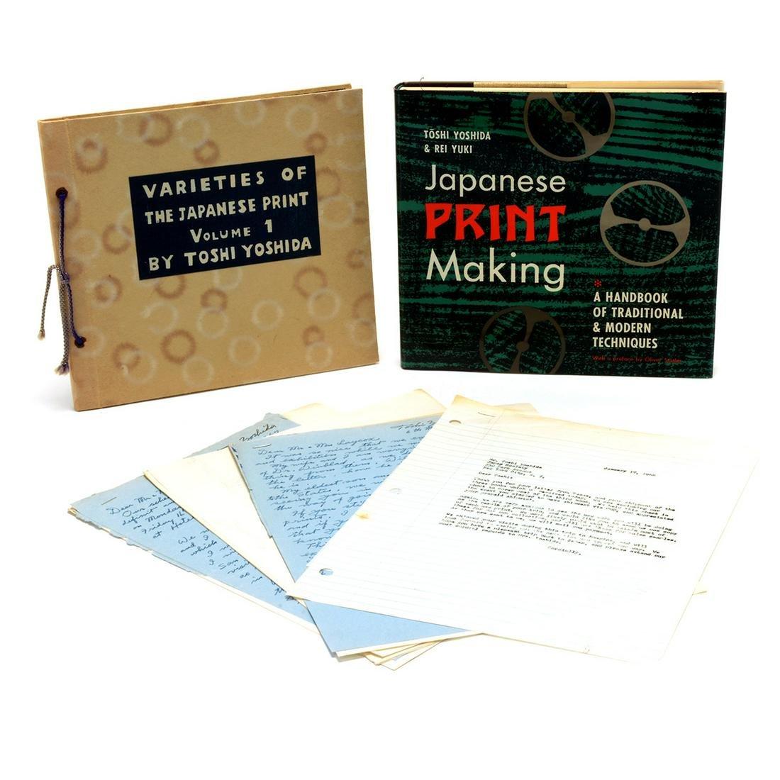 Toshi Yoshida 2 books with with ephemera