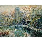 "Ernest Lawson ""Landscape New York"" oil on canvas laid"