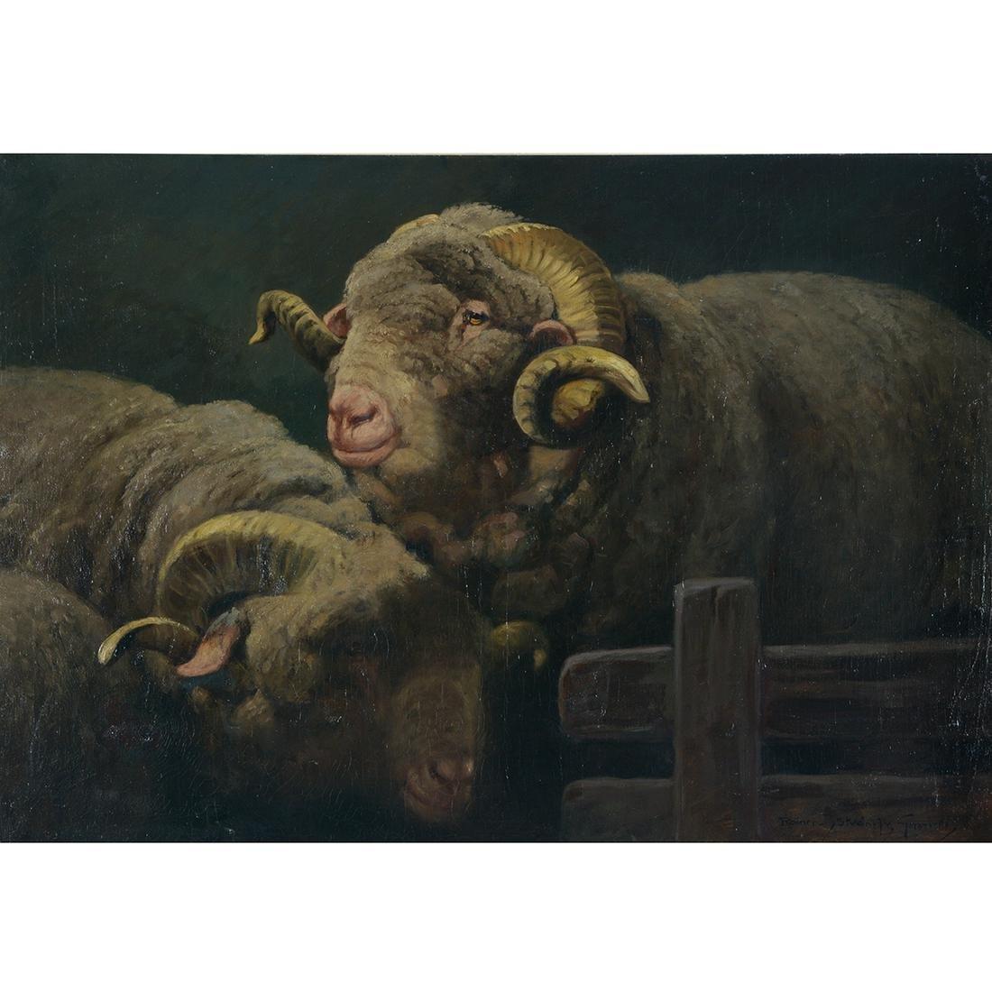 "Gabrielle Rainer Istvanffy ""Rams"" oil on canvas"