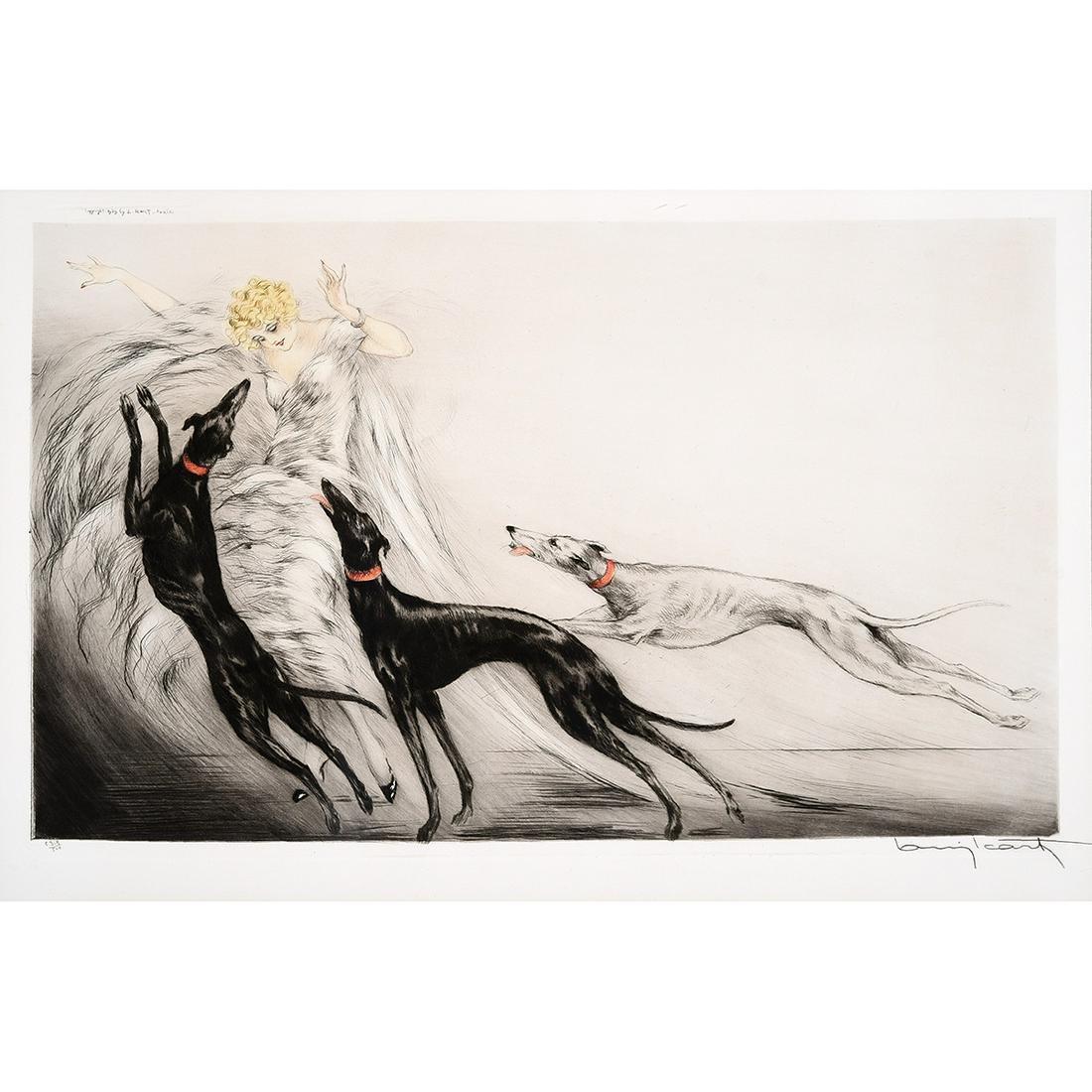 "Louis Icart ""Coursing II"" aquatint etching"