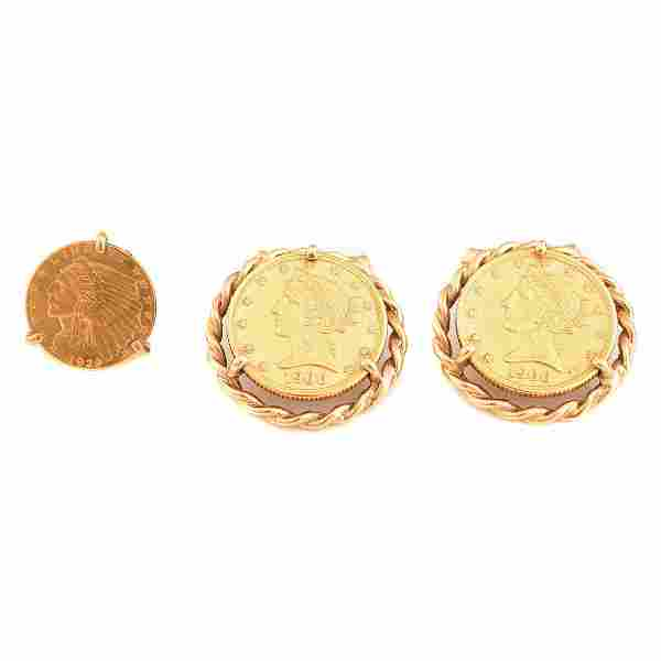 Gent's Gold Coin, 14k Yellow Gold Jewelry Suite.