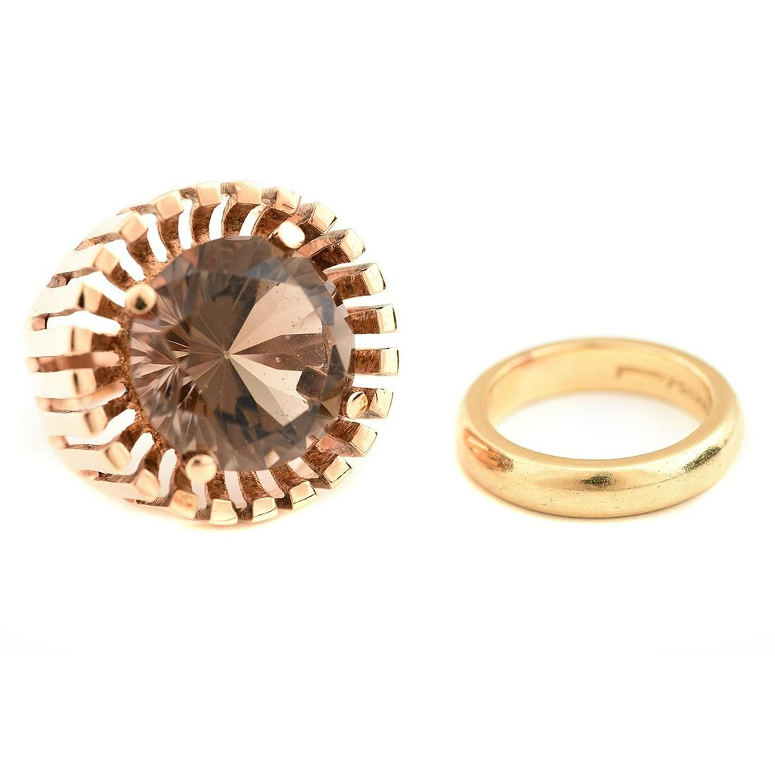 Collection of Two Smoky Quartz, Yellow Gold Rings.