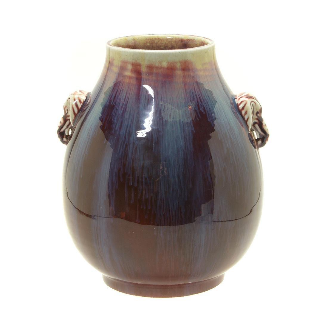 Chinese Flambe Glazed Vase with Elephant Handles
