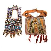 Two 20th Century African Beaded Panel and Diviners Bag