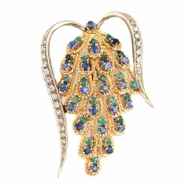 Diamond, Multi-Stone, Platinum, 18k Yellow Gold Brooch.