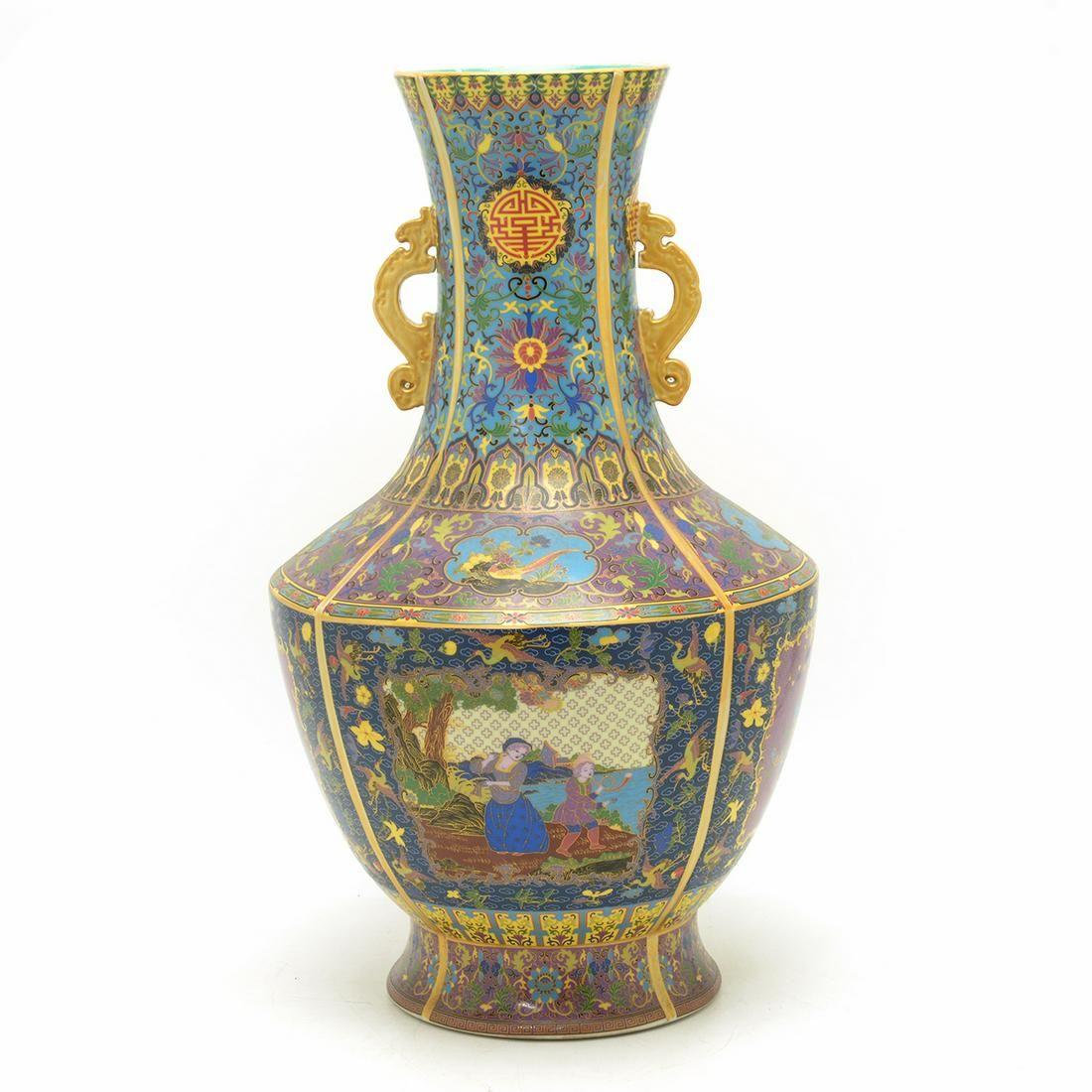 Large Chinese Cloisonne Enameled Porcelain Vase