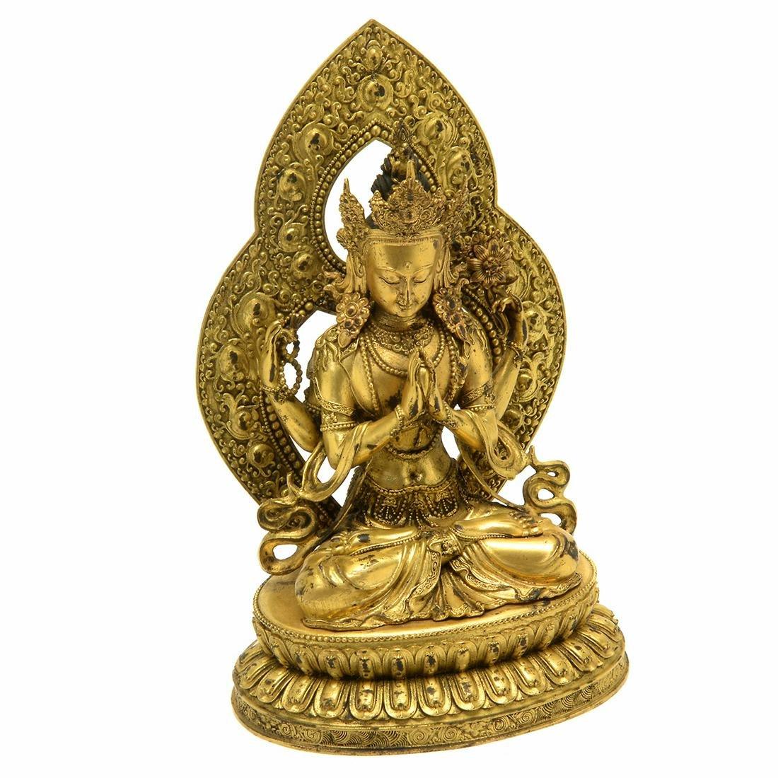Tibetan Gilt Bronze Figure of Buddhisattva with
