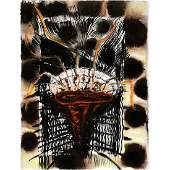 "Gregory Amenoff ""V.XIII. 1991"" mixed media on paper"