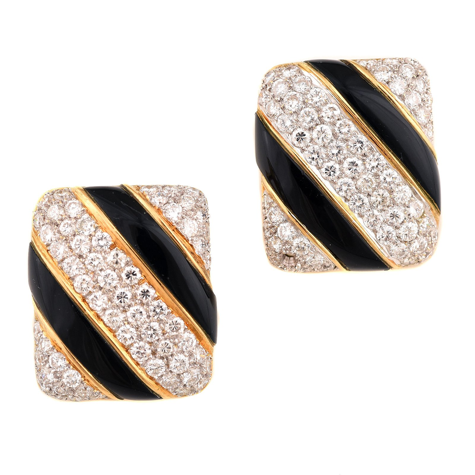 Pair of Diamond, Black Onyx, 18k Yellow Gold Ear Clips.