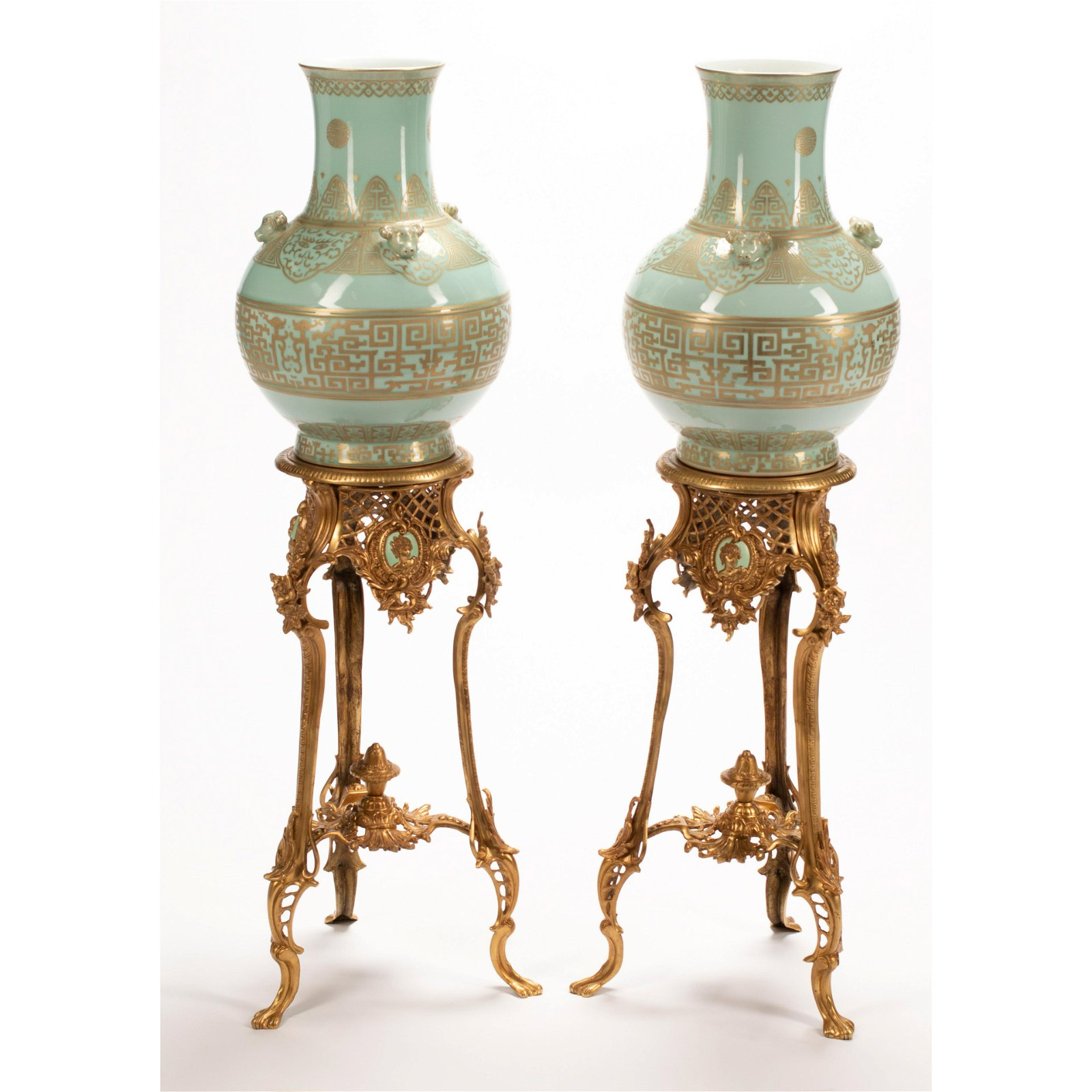 Pair of Chinese Gold Painted Celadon Porcelain Vases on