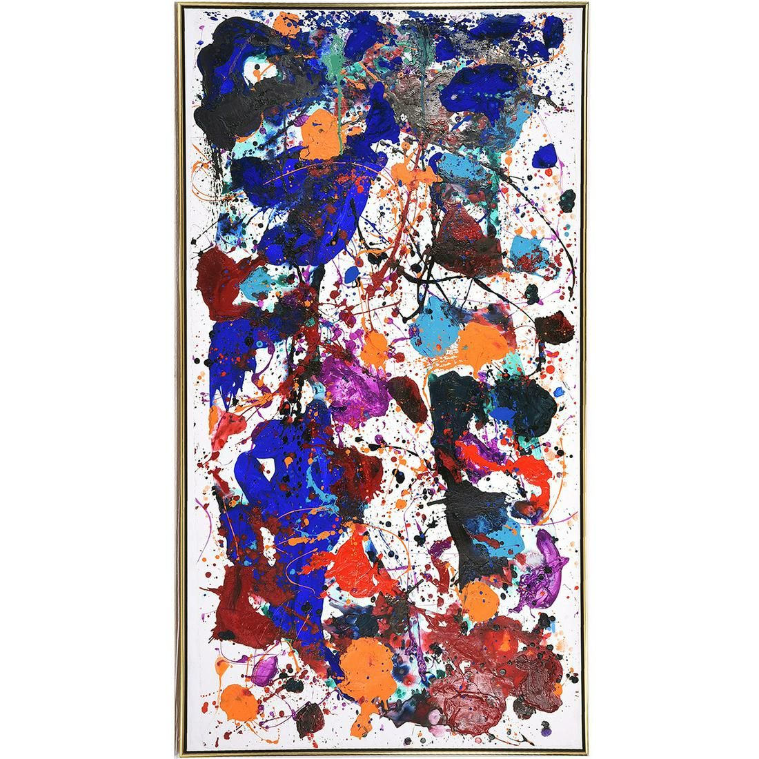 """Sam Francis """"Untitled"""" acrylic on paper laid on canvas"""