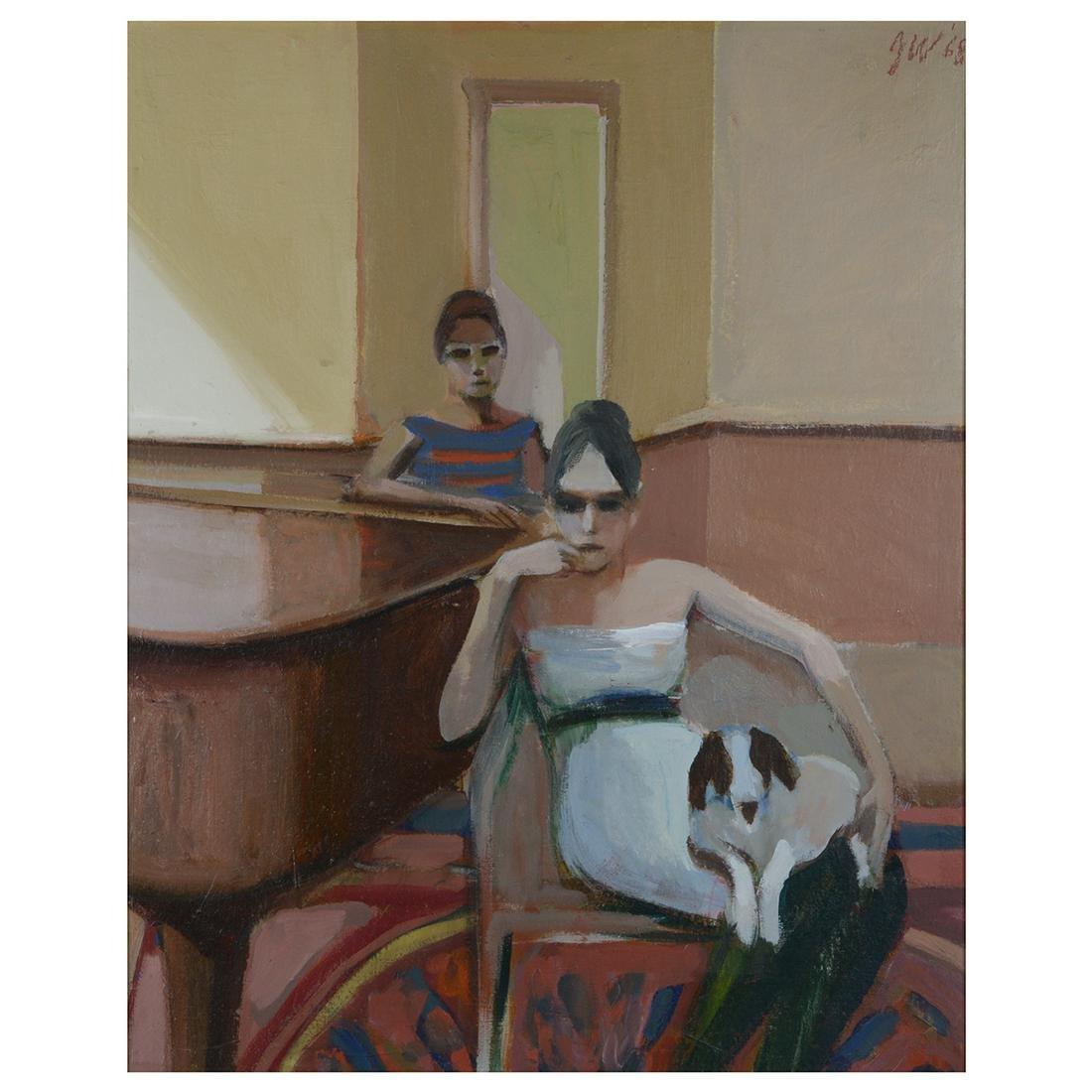 "James Weeks ""Two Figures with Dog"" acrylic on canvas"