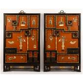 Pair of Large Chinese Cloisonne and Jade Inlaid Wall