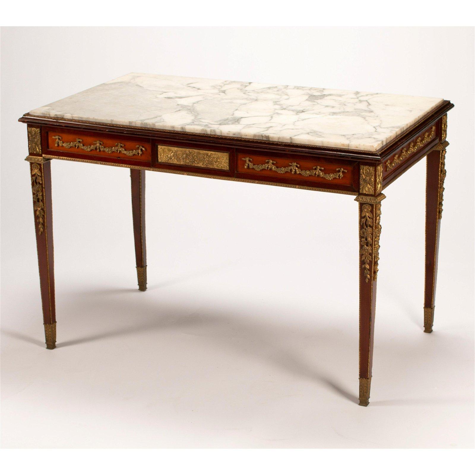 19th Century French Louis XVI Style Mahogany Marble Top