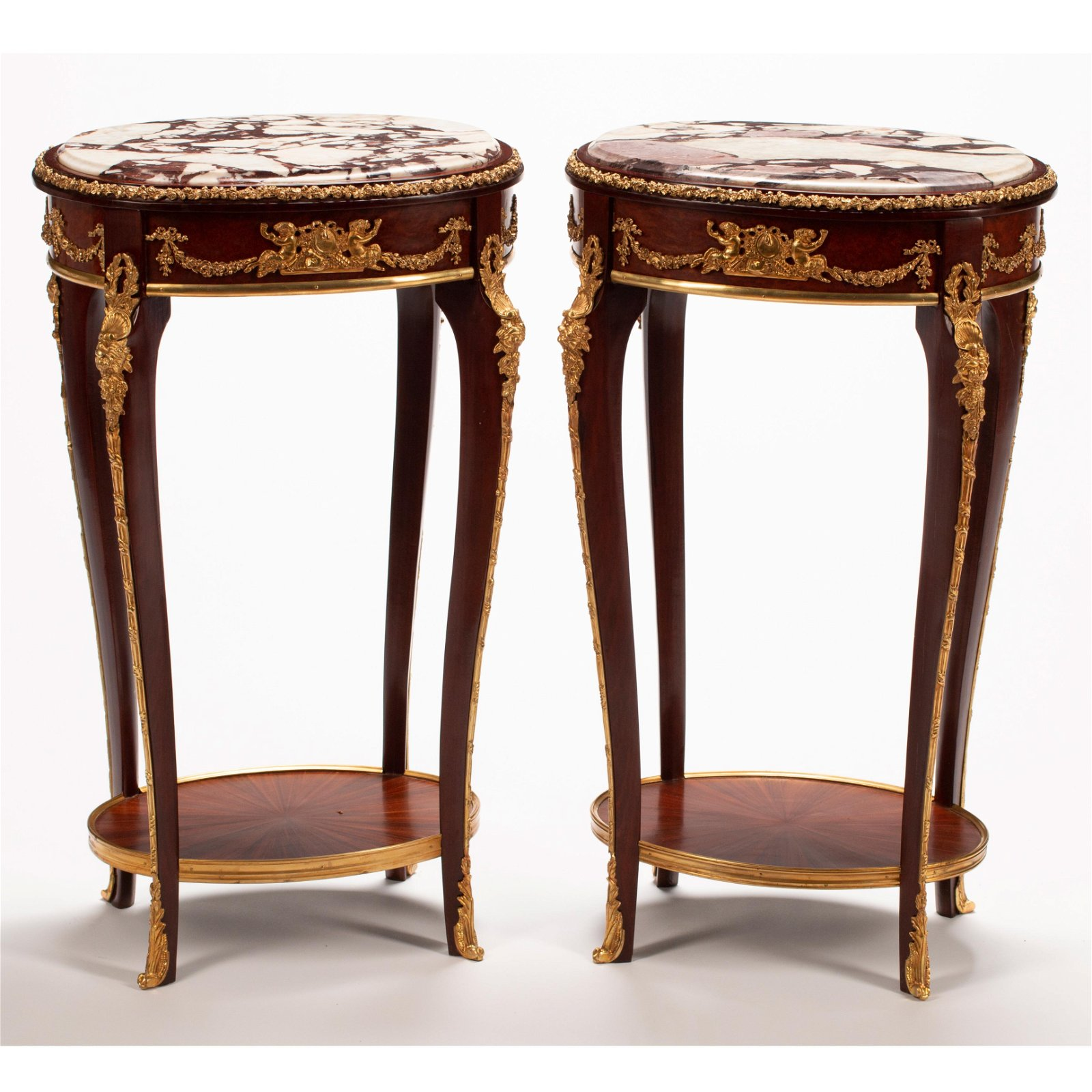 French Louis XV Style Marble Top Dore Bronze Mounted