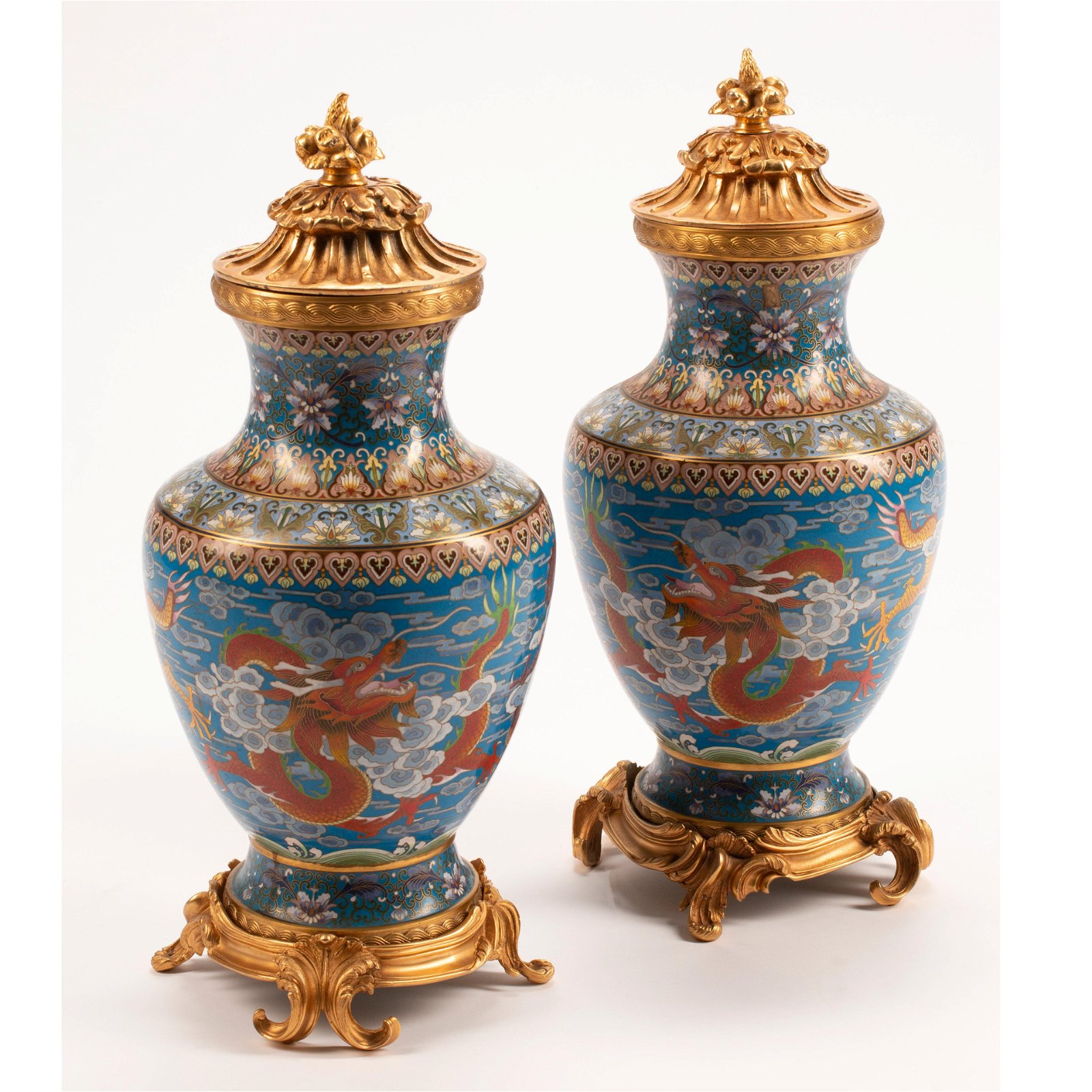 Pair of Chinese Cloisonne Vases with Dore Bronze