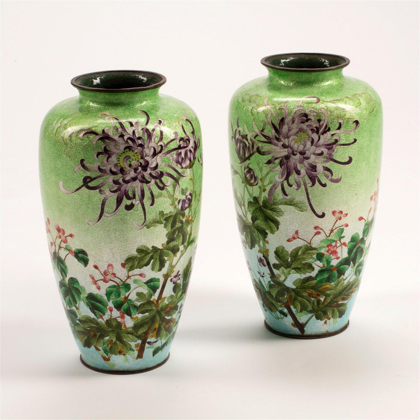 19th Century Enamel on Copper Vase Pair.