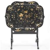 English Victorian Gilt Decorated Black Papier Mache