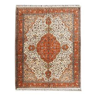Indian Tabriz Style Wool Carpet.