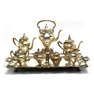 Shreve & Co. Art Nouveau Sterling Silver Tea Service.