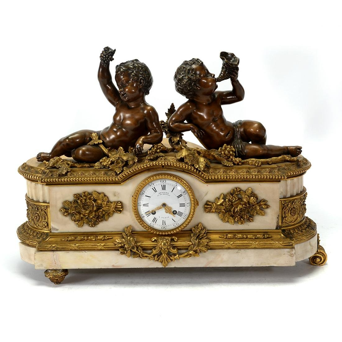 French 19th Century Deniere Bronze Figural Mantel