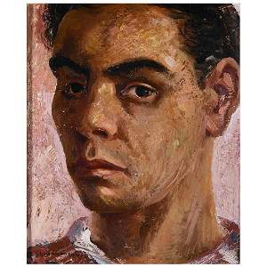 "Jesus Guerrero Galvan ""Self portrait"" oil on board"