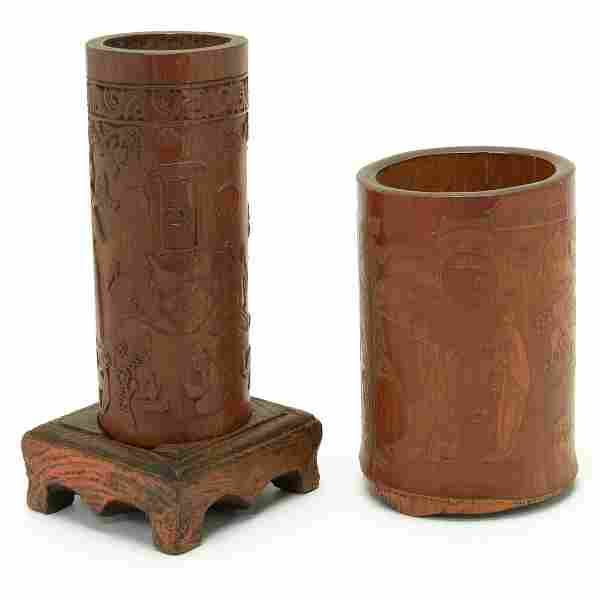 Two Chinese Carved Bamboo Brush Holders