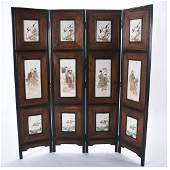 Chinese Four Panel Floor Screen with Porcelain Plaque