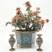 Chinese CloisonnÈ Hardstone Flower Pot & Two Small