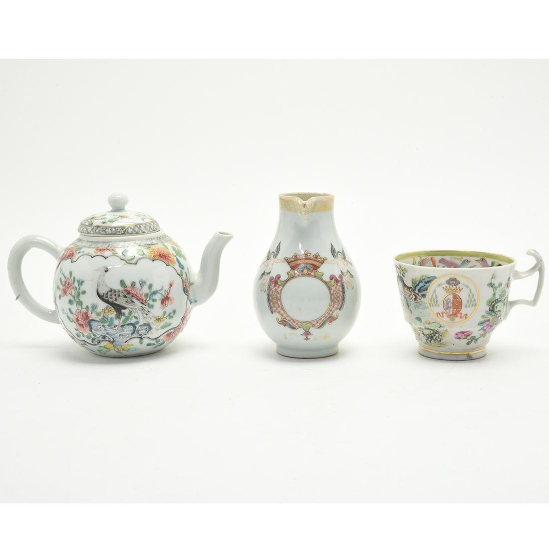 Three Chinese Export Teapot & Creamer