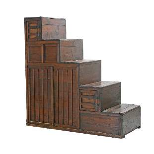 Large Japanese Stair Form Tansu