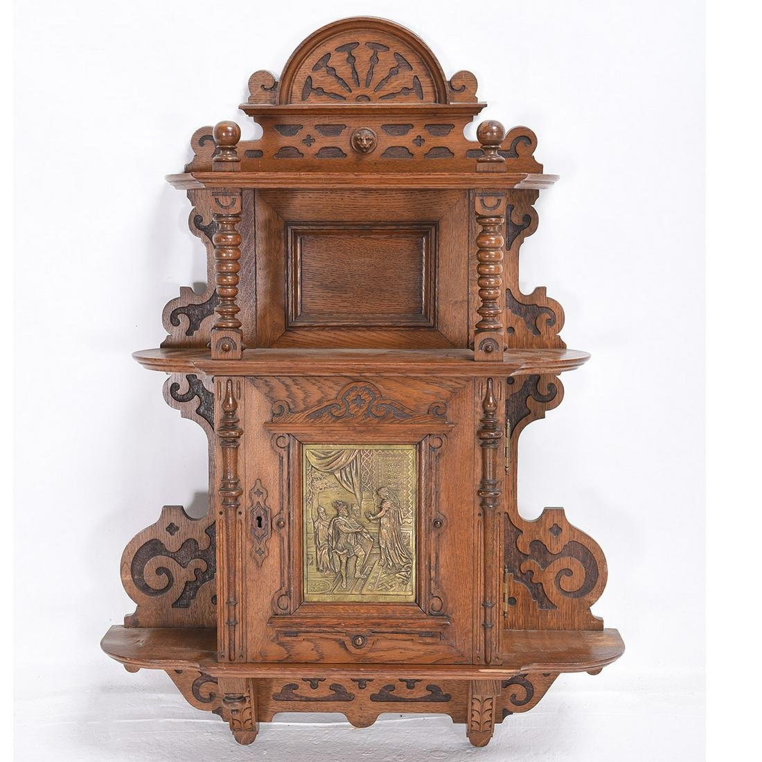 Carved Oak Wall Cabinet.