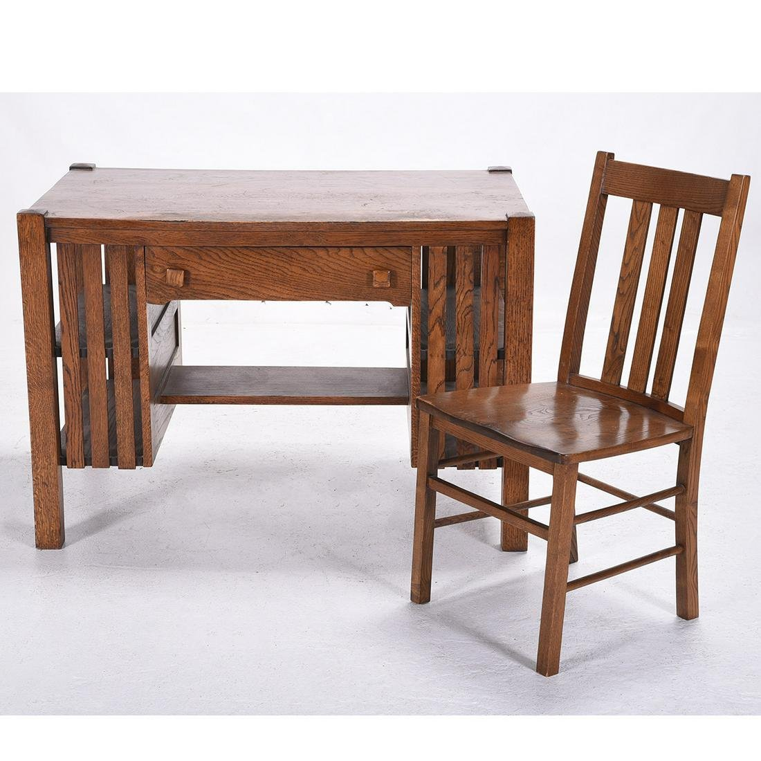 Stickley Style Mission Oak Desk and Chair.