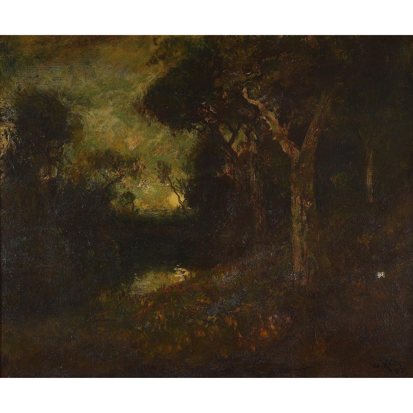 "William Keith ""Pond Amongst Trees"" oil on canvas"