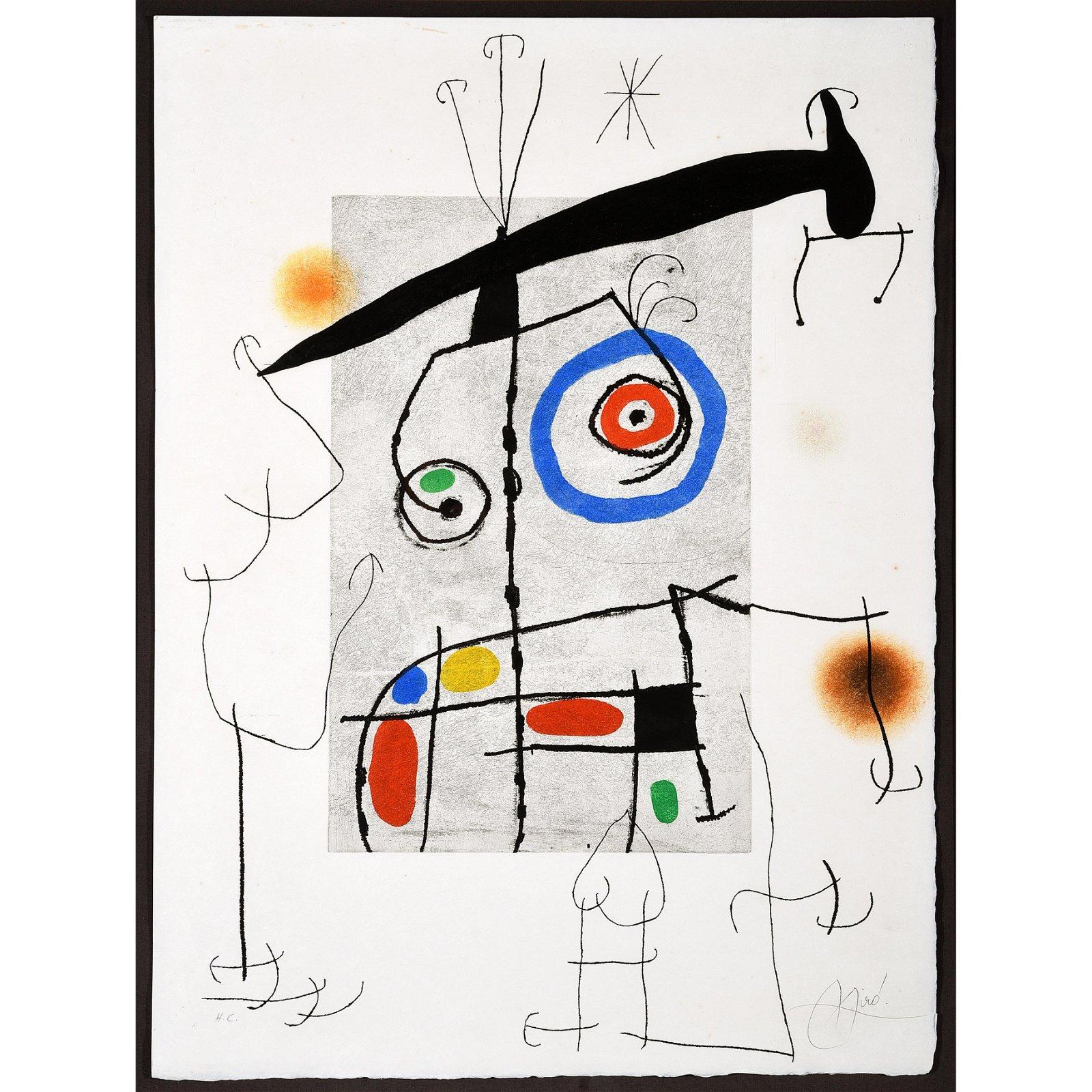 """Joan Miro """"L'Homme au Balancier"""" etching/aquatint and"""