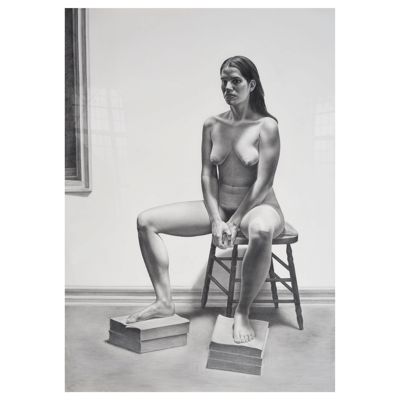 "Costa Vavgiakis ""Portrait of Alison"" charcoal on paper"