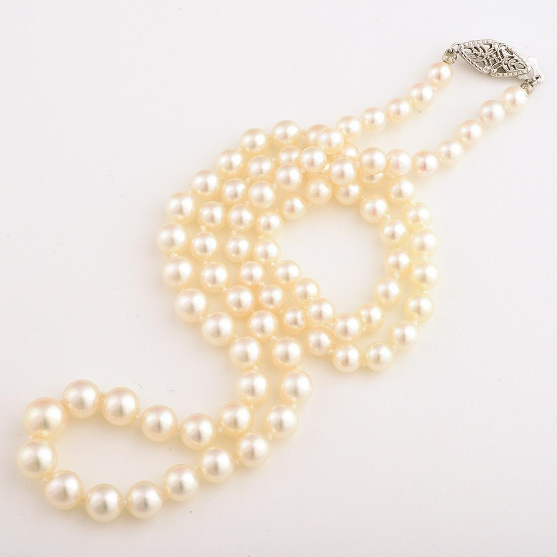 Cultured Pearl, 14k White Gold Necklace.