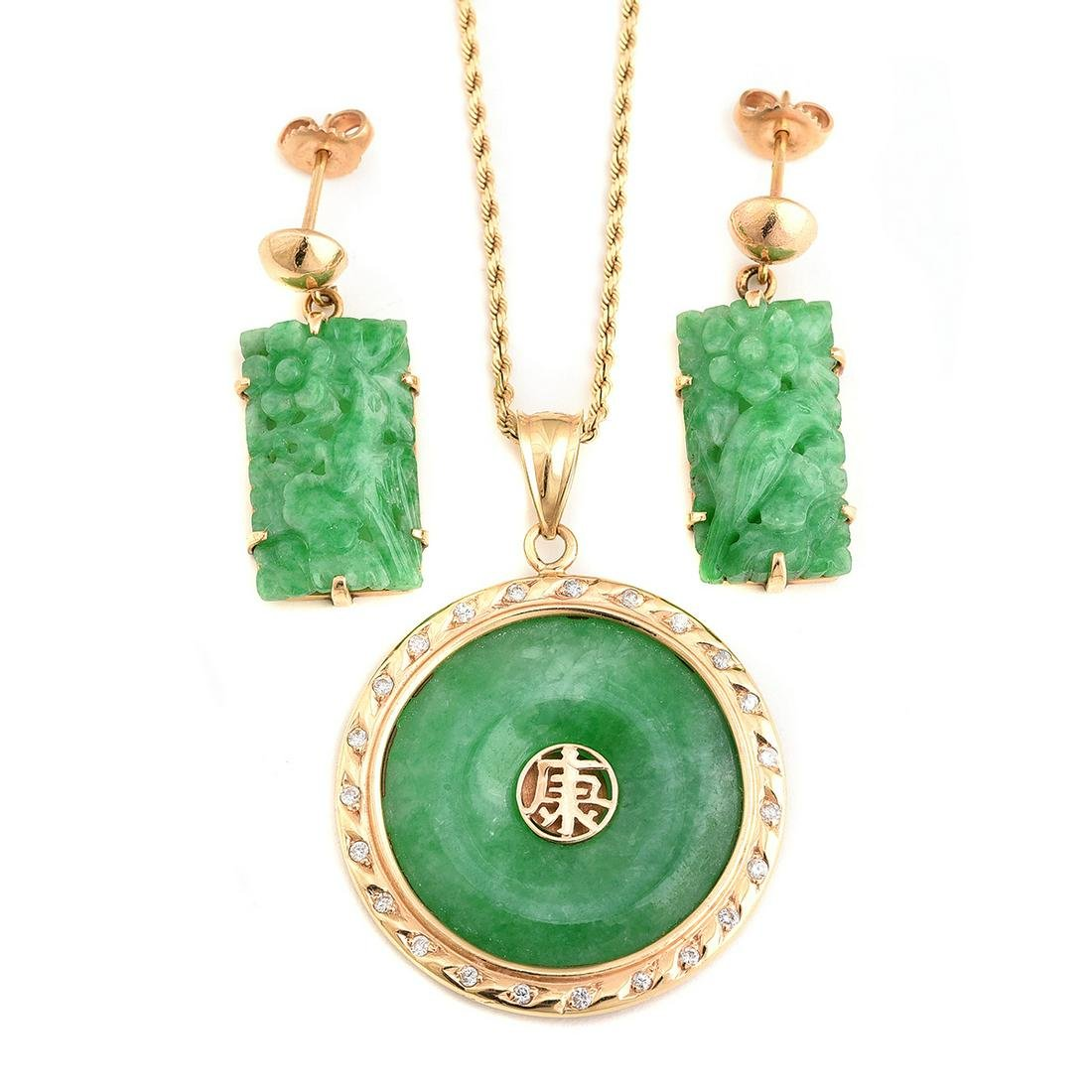 Jade, Diamond, 14k Yellow Gold Jewelry Suite.
