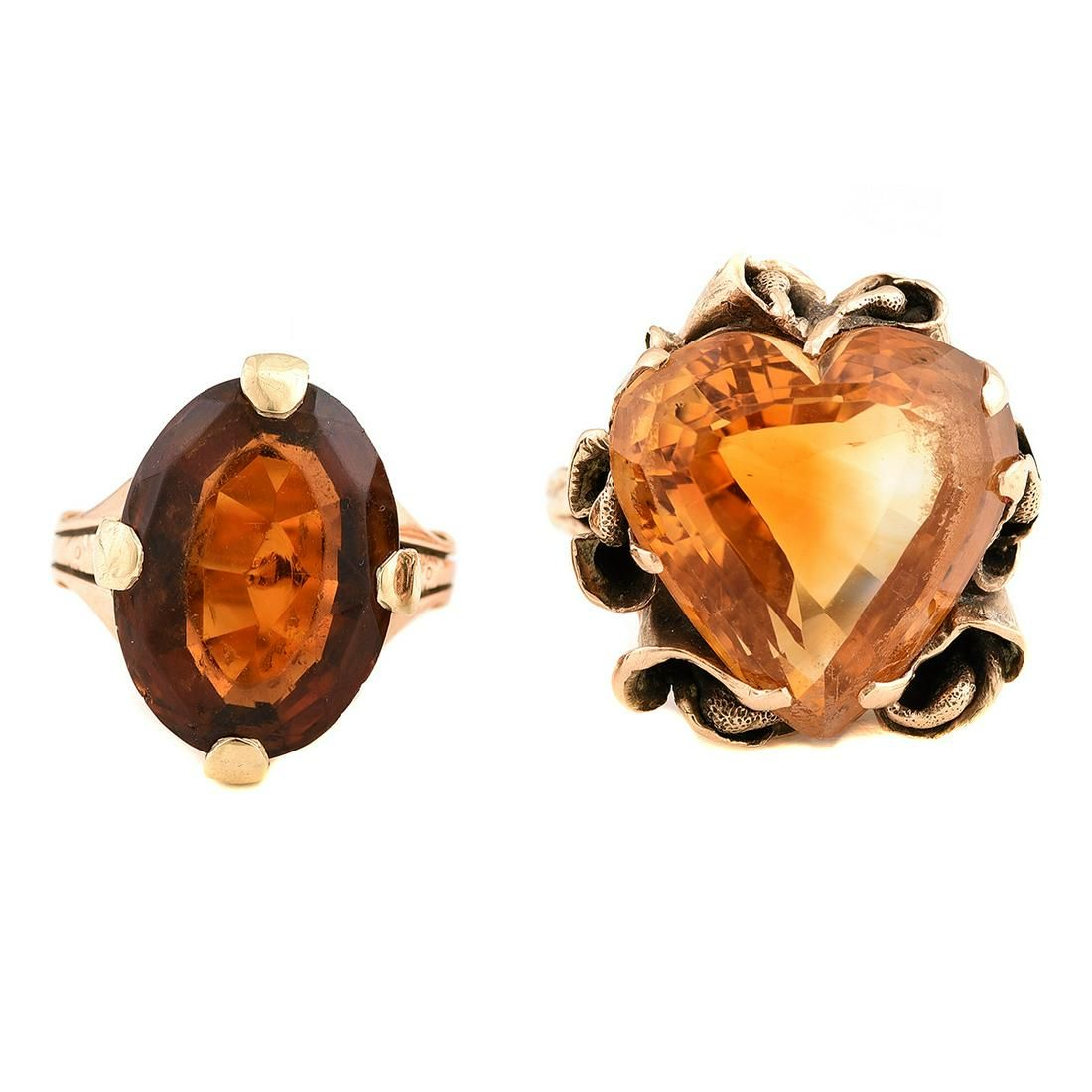 Collection of Two Citrine, 14k Yellow Gold Rings.