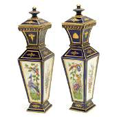 Pair of English 19th Century Porcelain Covered Vases