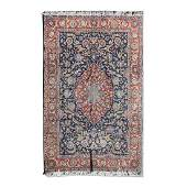 Persian Wool Area Rug with Dense Floral Design on Blue