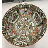 Large Chinese Canton Export Punch Bowl with Wood Stand