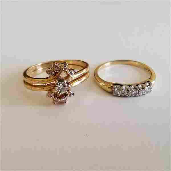 Collection of Two Diamond, 14k Yellow Gold Rings. 3.8