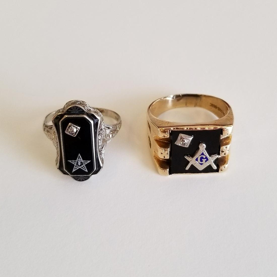 Collection of Two Diamond, Black Onyx, Enamel, 14k, 10k