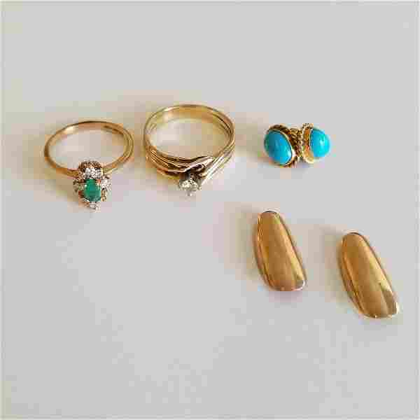 Collection of Diamond, Emerald, Turquoise, 14k Yellow