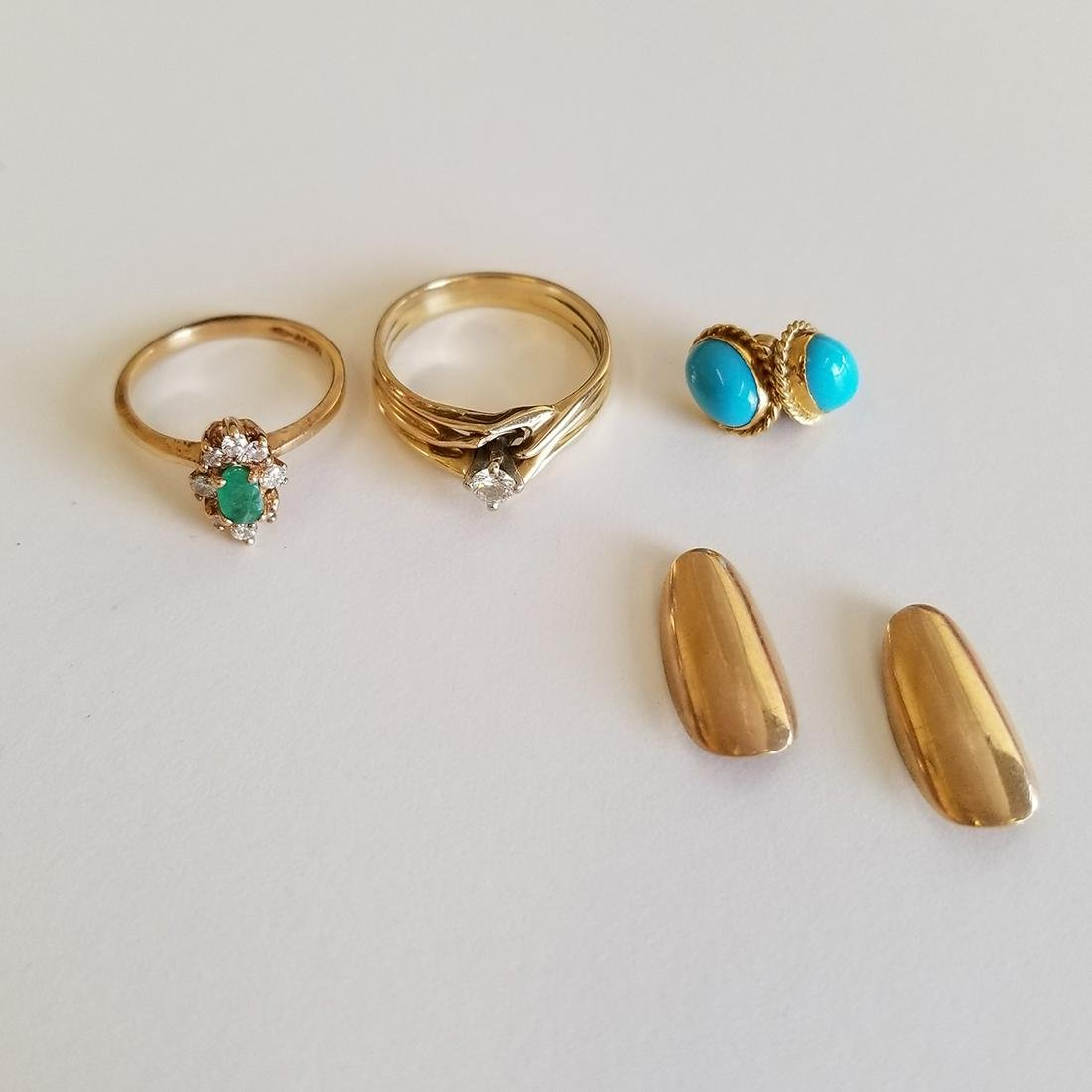 Collection of Diamond, Emerald, Turquoise, 14k Yellow