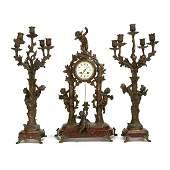 French Art Nouveau Spelter Figural Mantle Clock